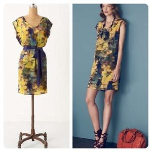 Anthropologie Maeve Pixel Impressionist Silk Dress